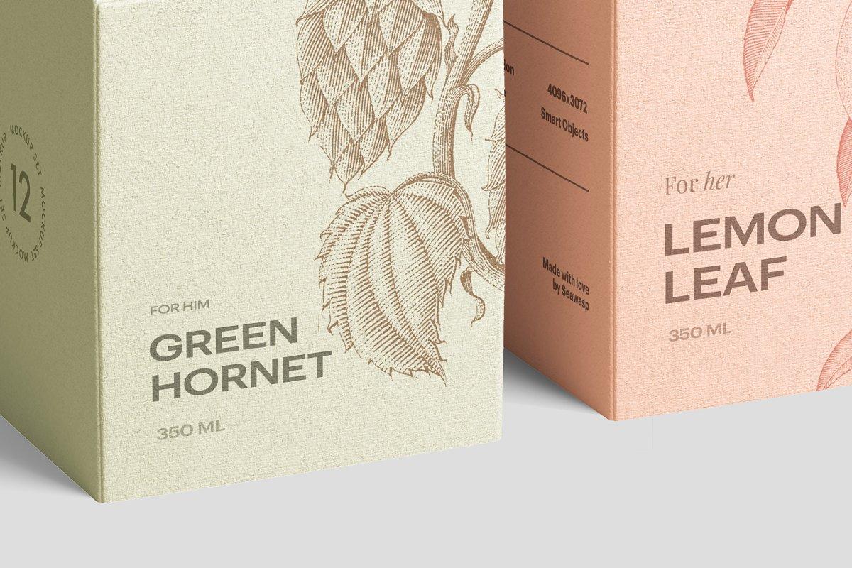 高质量方形化妆品香水包装盒设计预览图样机模板 Box Mockup Vol.3插图(4)