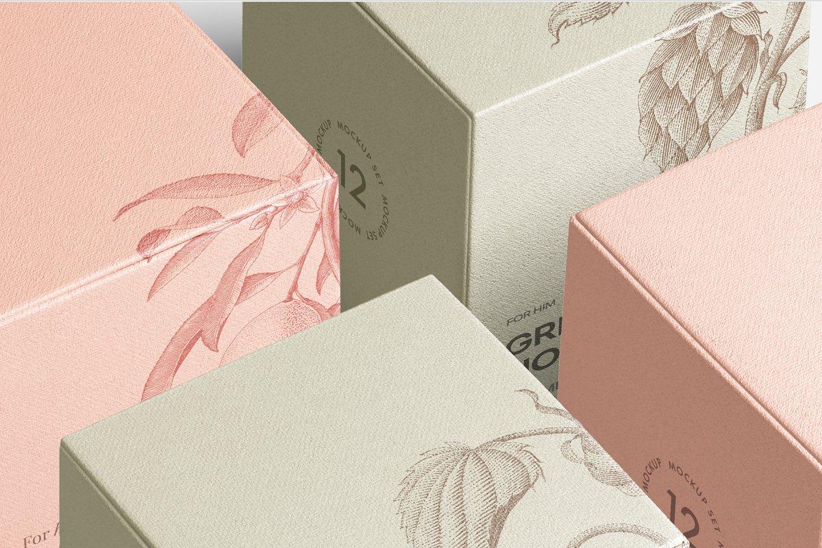 高质量方形化妆品香水包装盒设计预览图样机模板 Box Mockup Vol.3插图(6)
