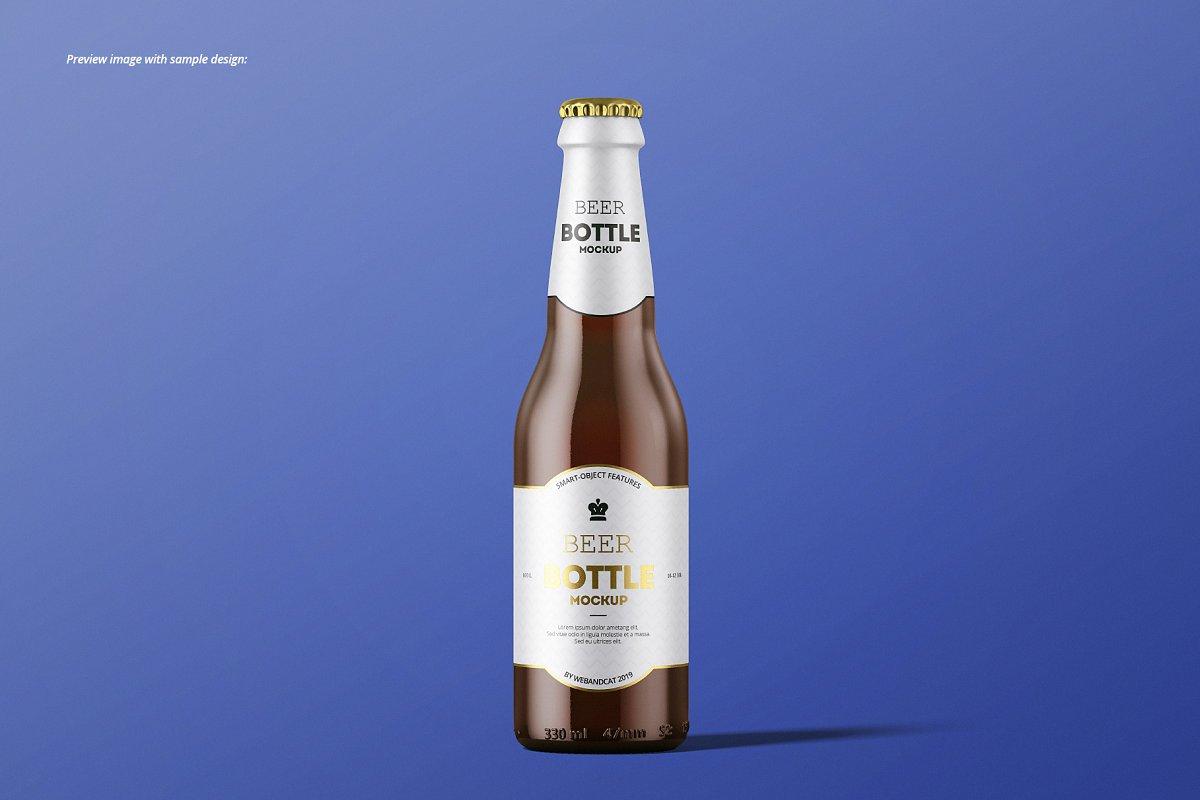 7个高品质啤酒瓶标签设计预览图样机模板套装 Beer Bottle Mockup Set插图(2)