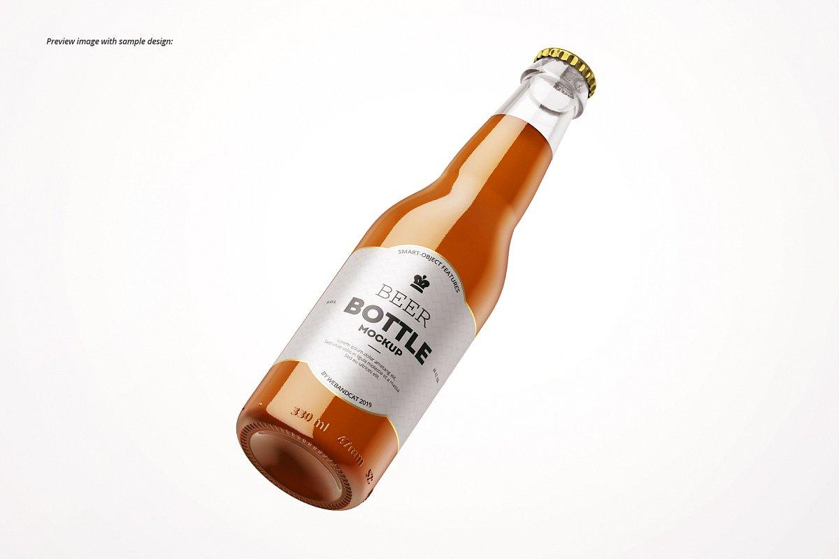 7个高品质啤酒瓶标签设计预览图样机模板套装 Beer Bottle Mockup Set插图(5)