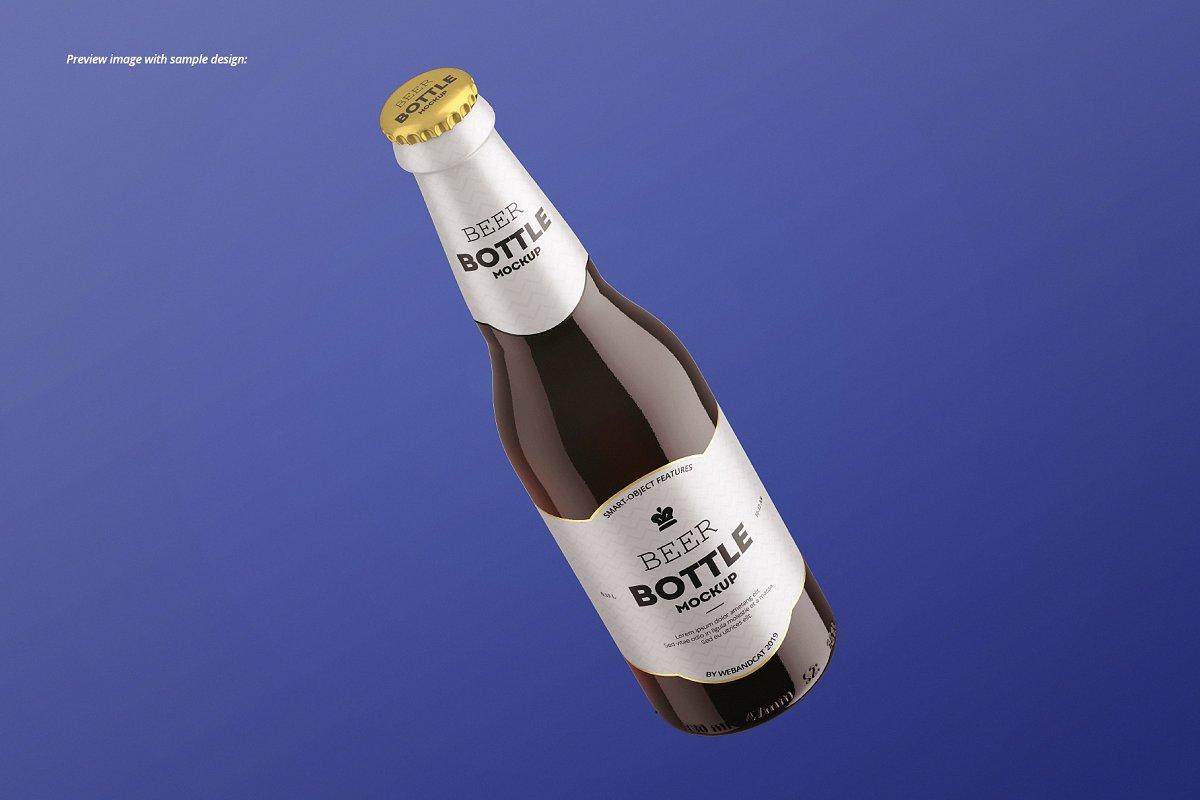 7个高品质啤酒瓶标签设计预览图样机模板套装 Beer Bottle Mockup Set插图(6)