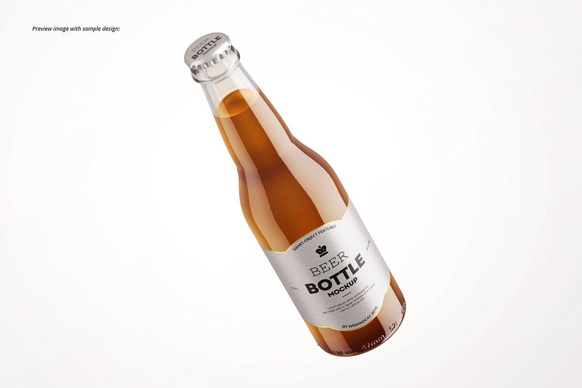 7个高品质啤酒瓶标签设计预览图样机模板套装 Beer Bottle Mockup Set插图(7)