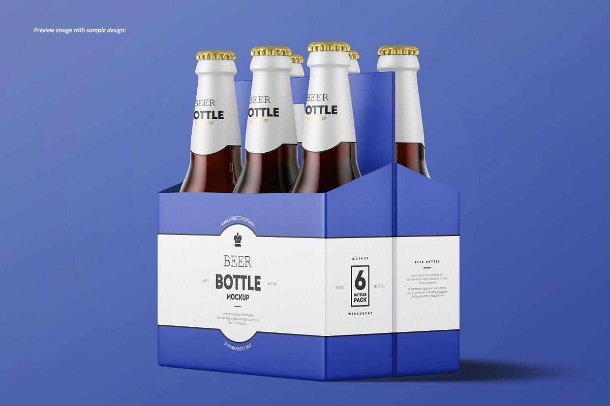 7个高品质啤酒瓶标签设计预览图样机模板套装 Beer Bottle Mockup Set插图(10)