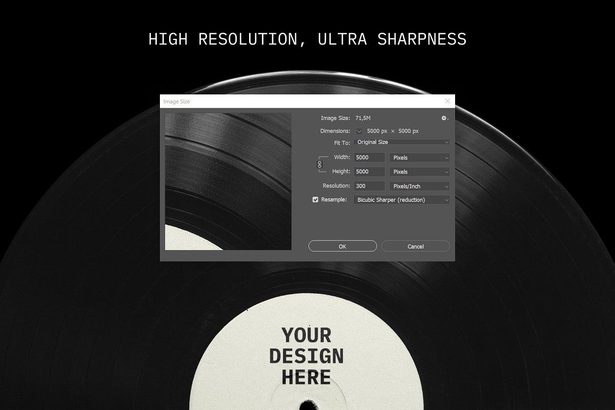 复古黑胶片CD唱片包装袋封面设计样机模板 Vinyl Record Mockup插图(1)