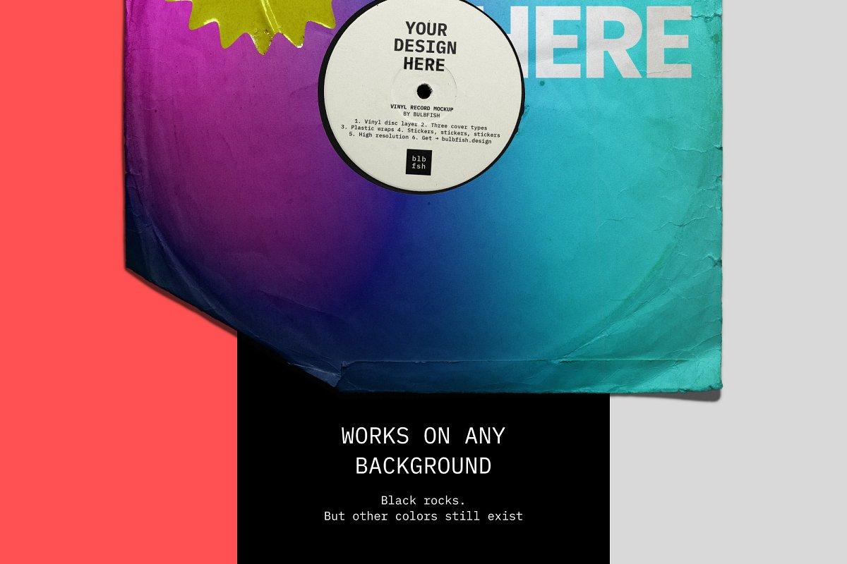 复古黑胶片CD唱片包装袋封面设计样机模板 Vinyl Record Mockup插图(2)