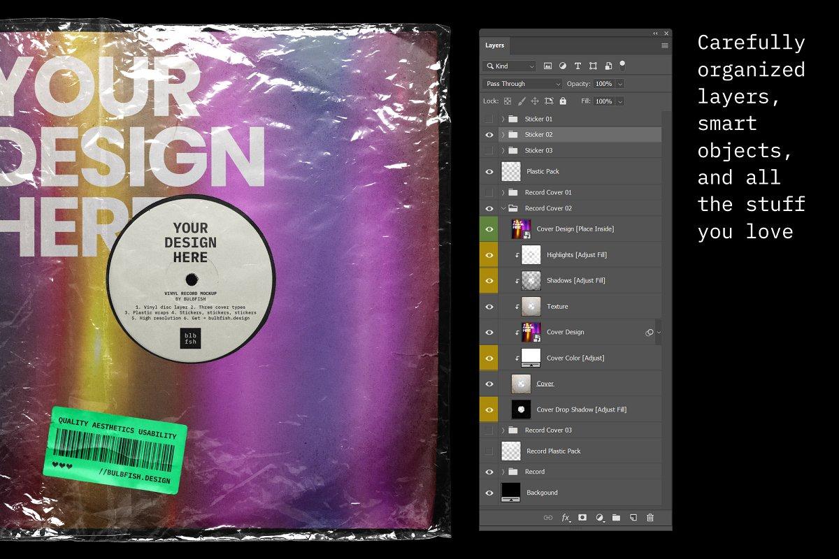 复古黑胶片CD唱片包装袋封面设计样机模板 Vinyl Record Mockup插图(3)