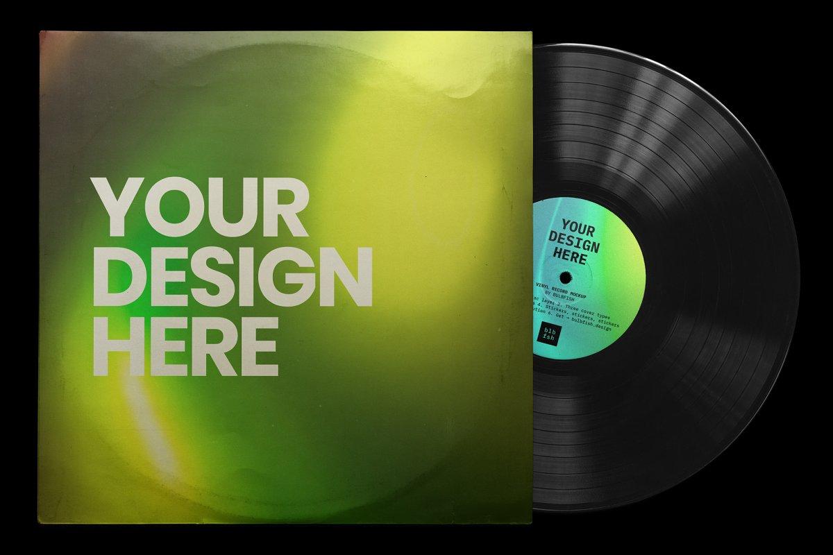 复古黑胶片CD唱片包装袋封面设计样机模板 Vinyl Record Mockup插图(4)