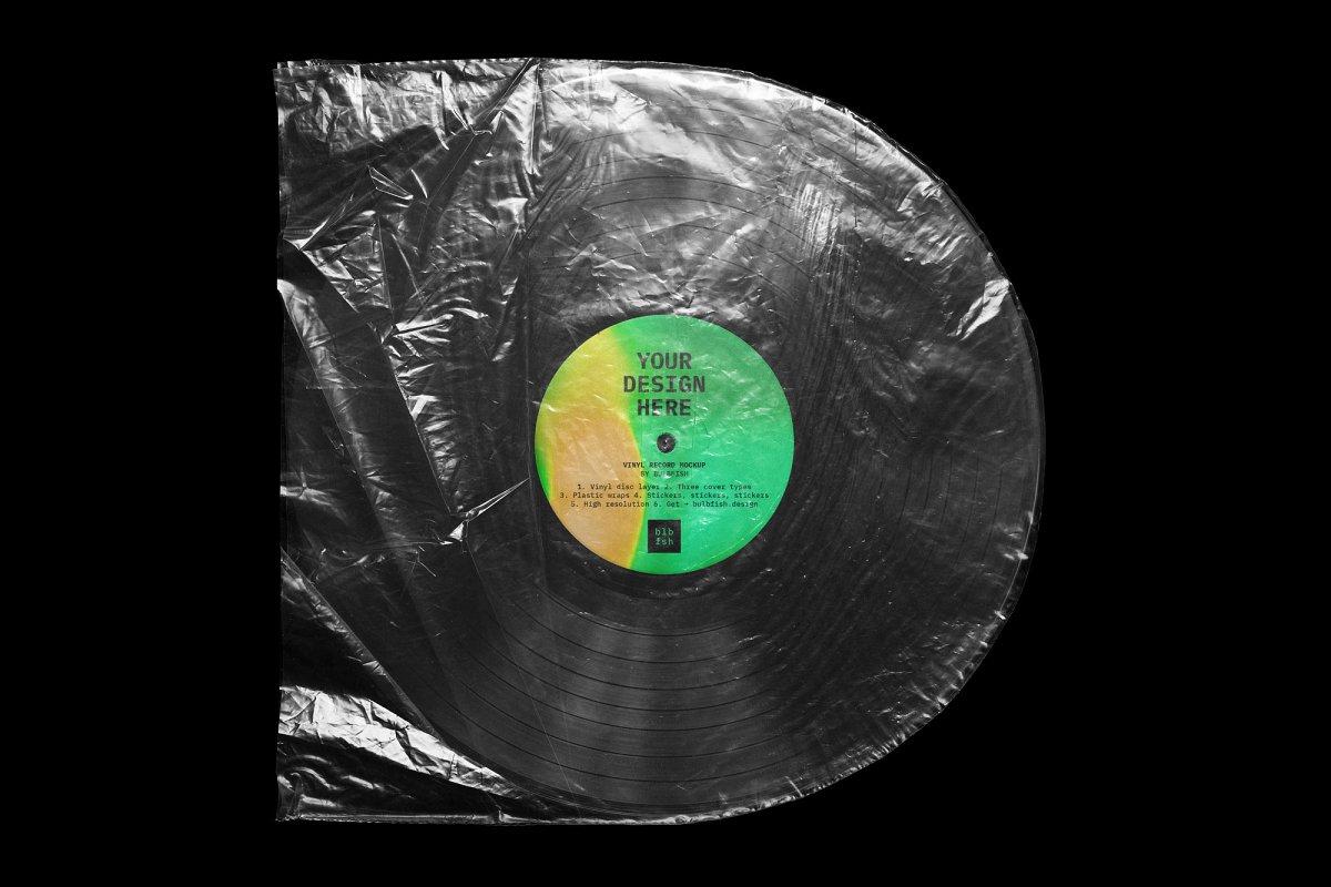 复古黑胶片CD唱片包装袋封面设计样机模板 Vinyl Record Mockup插图(5)