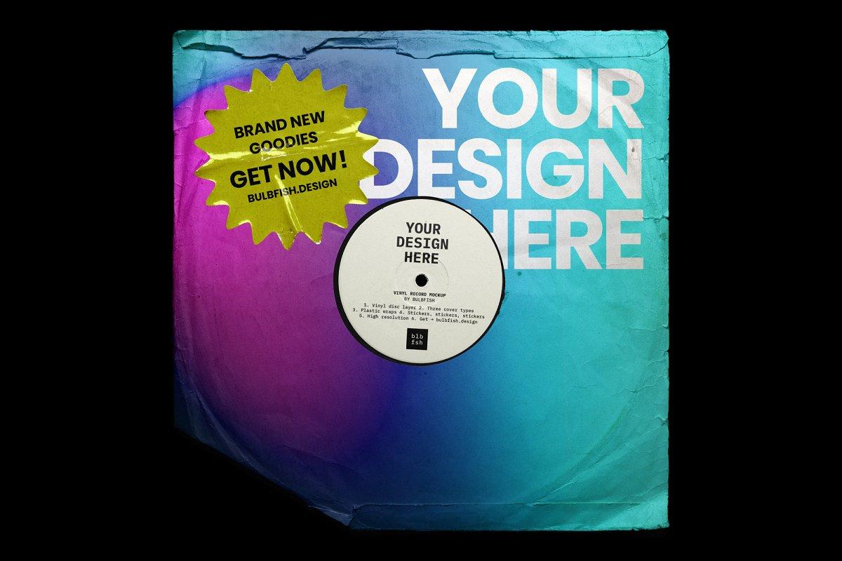 复古黑胶片CD唱片包装袋封面设计样机模板 Vinyl Record Mockup插图(6)