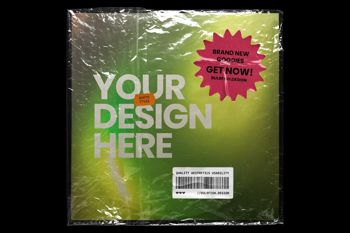复古黑胶片CD唱片包装袋封面设计样机模板 Vinyl Record Mockup插图(8)