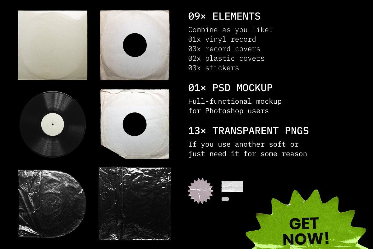 复古黑胶片CD唱片包装袋封面设计样机模板 Vinyl Record Mockup插图(9)
