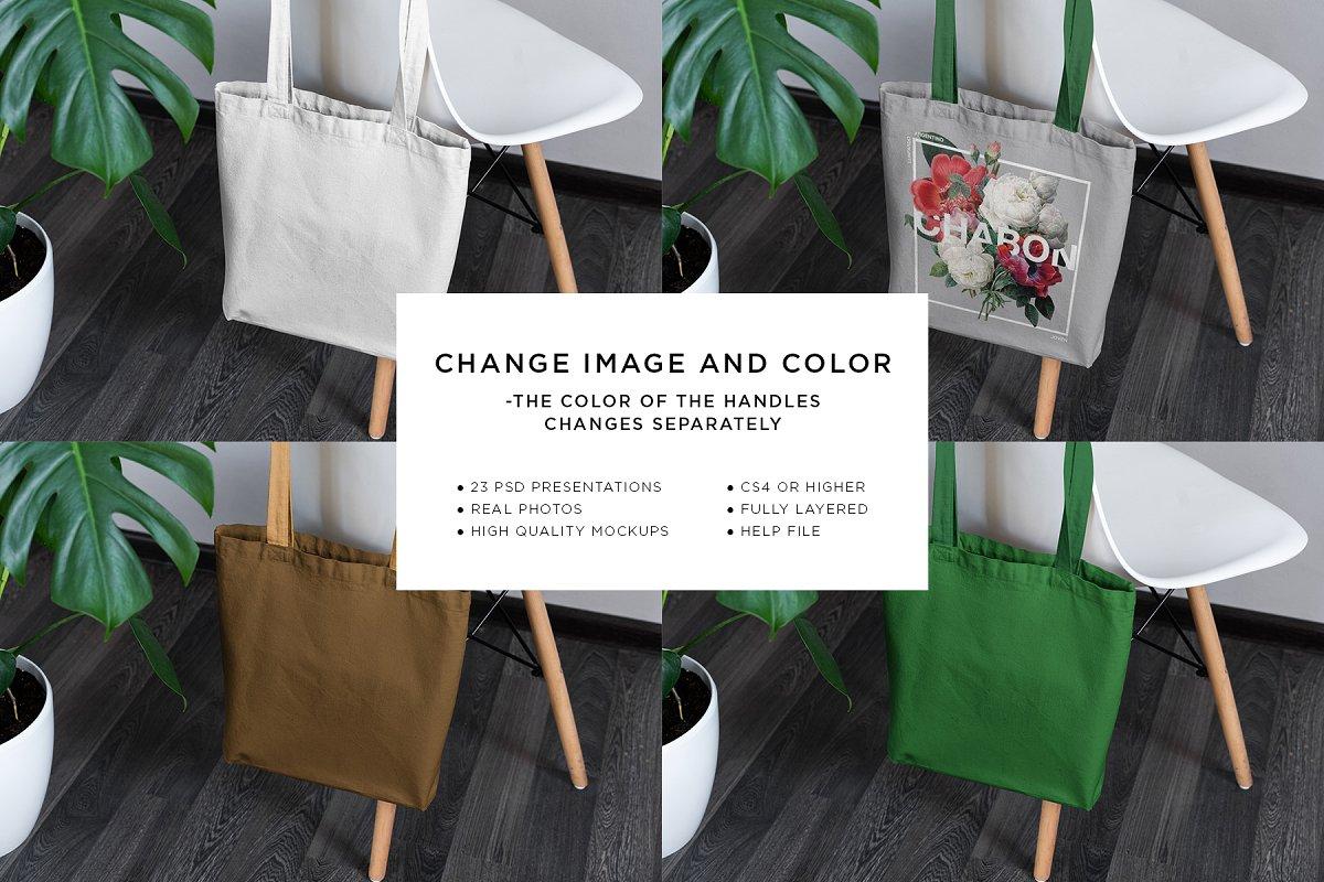 23款时尚生活方式手提帆布袋设计样机模板素材合集 Canvas Tote Bag Mockup Lifestyle插图(1)