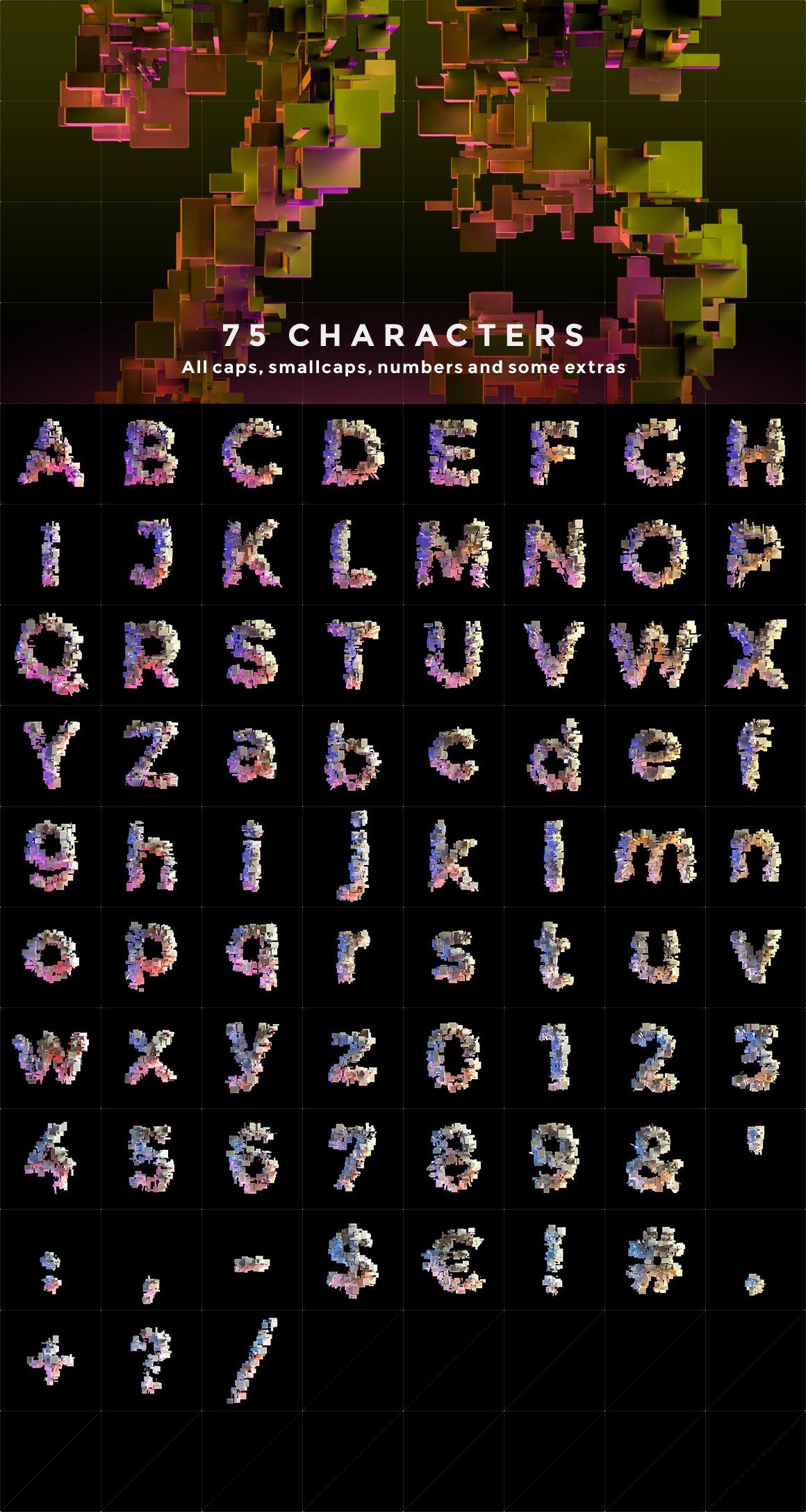 带有灯光科幻3D颗粒块状字母设计PS图层样式素材套件 COMPL3X – Futuristic 3D Alphabet Kit插图(7)