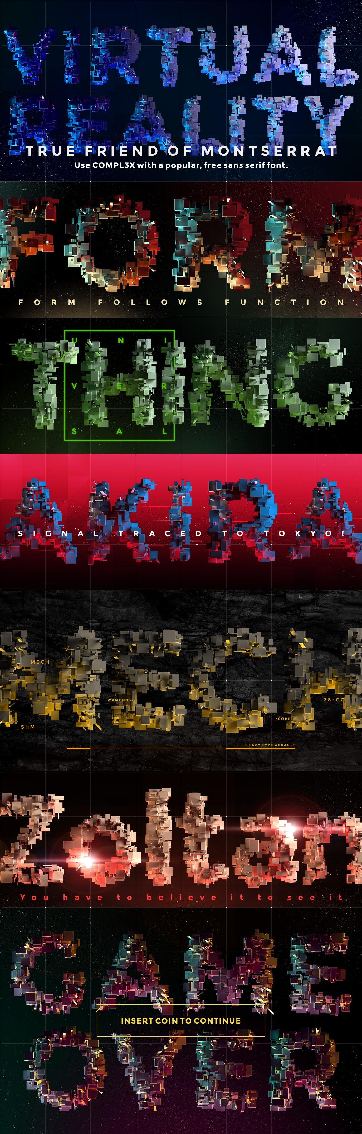 带有灯光科幻3D颗粒块状字母设计PS图层样式素材套件 COMPL3X – Futuristic 3D Alphabet Kit插图(6)