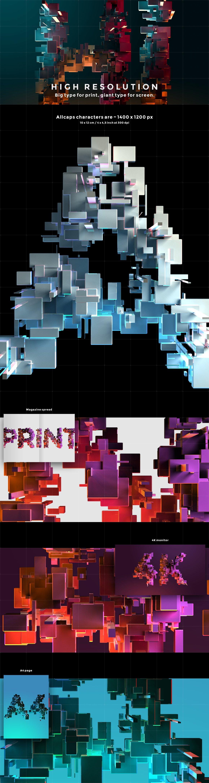 带有灯光科幻3D颗粒块状字母设计PS图层样式素材套件 COMPL3X – Futuristic 3D Alphabet Kit插图(3)