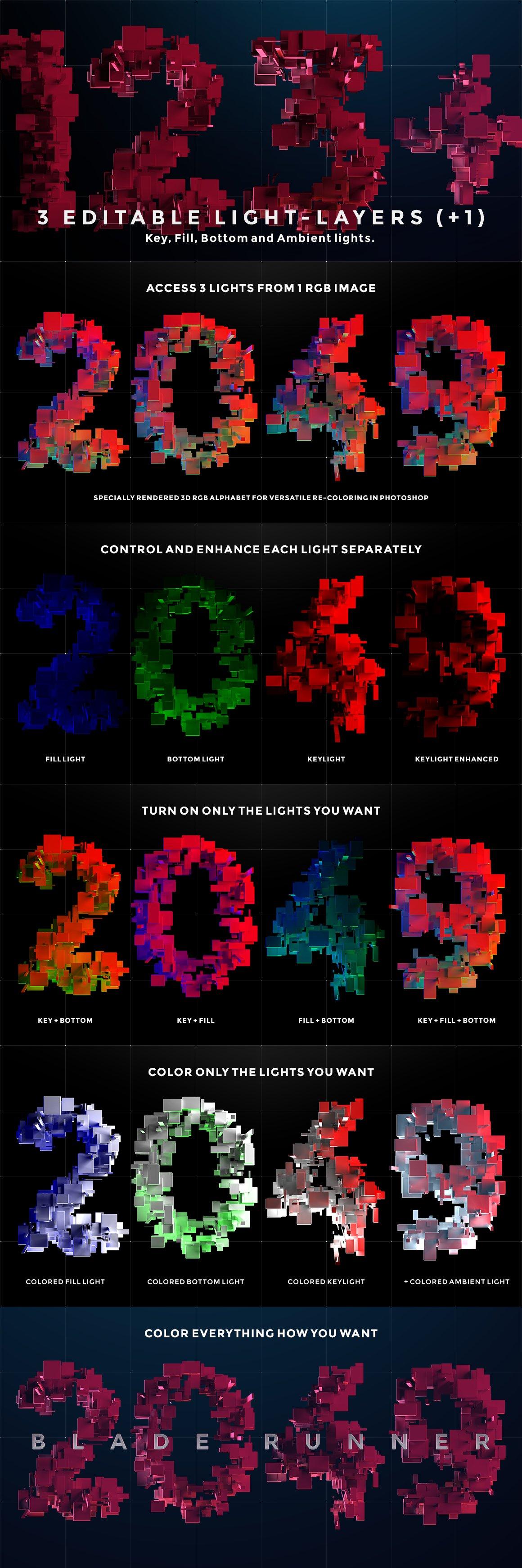 带有灯光科幻3D颗粒块状字母设计PS图层样式素材套件 COMPL3X – Futuristic 3D Alphabet Kit插图(2)