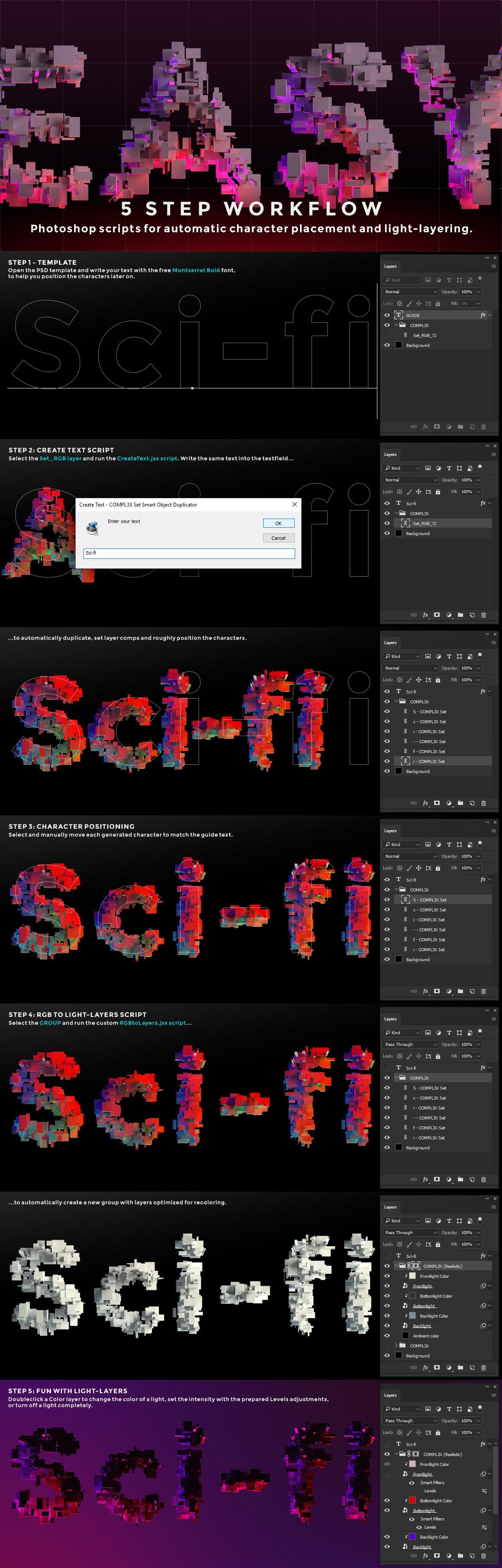 带有灯光科幻3D颗粒块状字母设计PS图层样式素材套件 COMPL3X – Futuristic 3D Alphabet Kit插图(1)