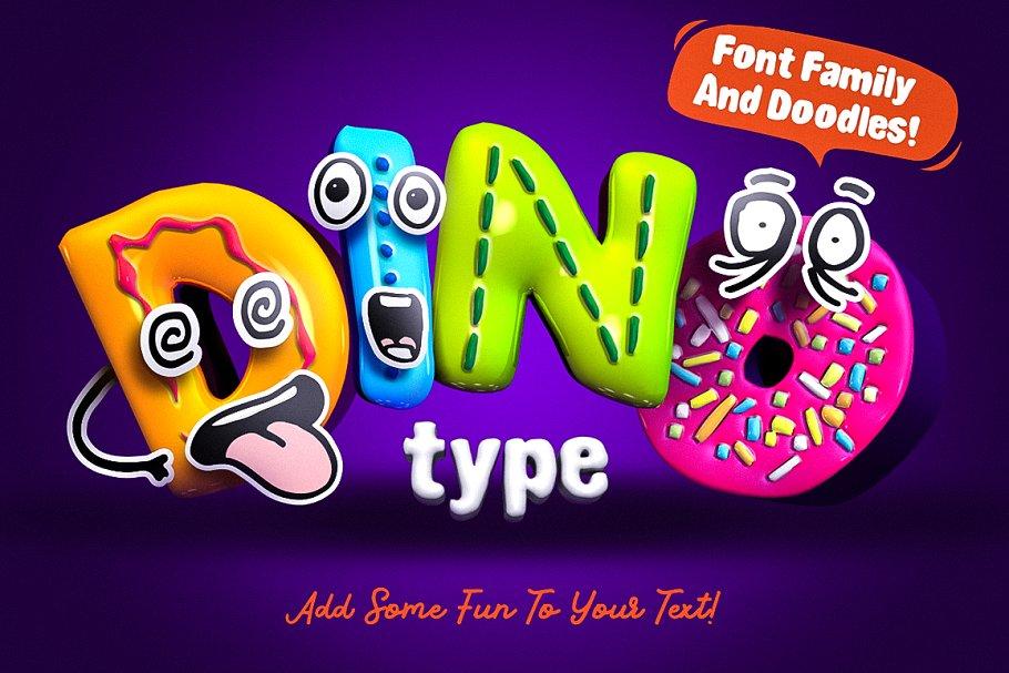 创意有趣可爱卡通甜甜圈字母字符英文字体合集 DinoType Font Family+Bonus插图