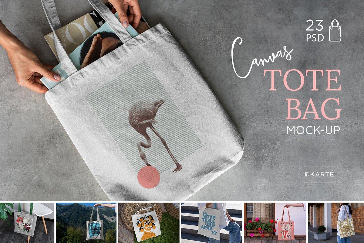 23款时尚生活方式手提帆布袋设计样机模板素材合集 Canvas Tote Bag Mockup Lifestyle插图