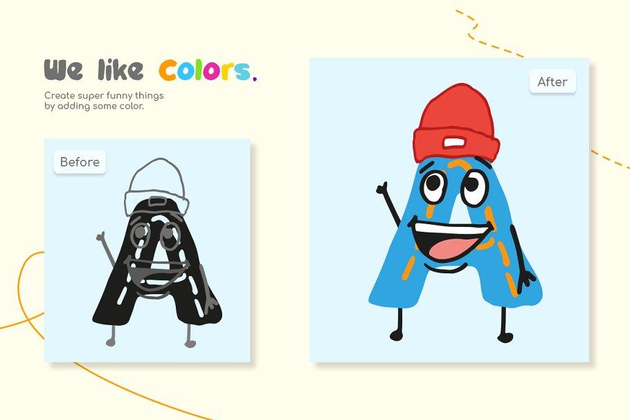 创意有趣可爱卡通甜甜圈字母字符英文字体合集 DinoType Font Family+Bonus插图(2)