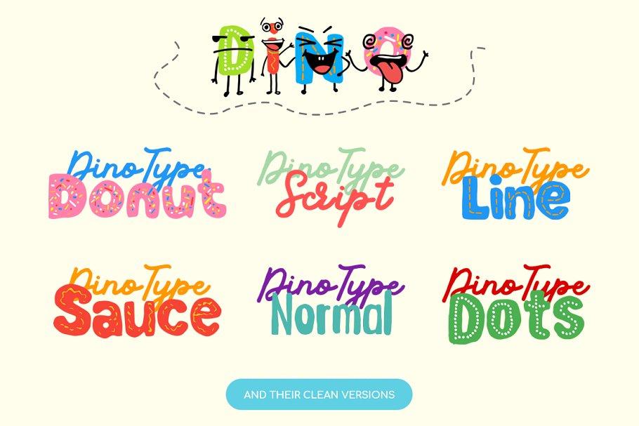 创意有趣可爱卡通甜甜圈字母字符英文字体合集 DinoType Font Family+Bonus插图(3)