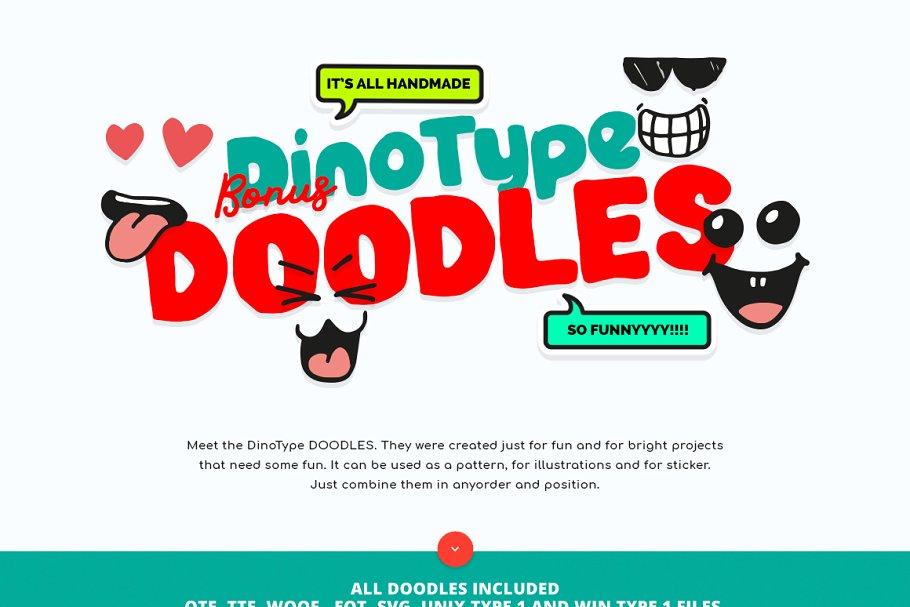 创意有趣可爱卡通甜甜圈字母字符英文字体合集 DinoType Font Family+Bonus插图(4)