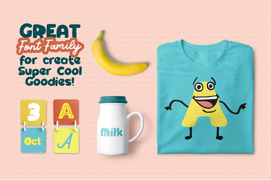 创意有趣可爱卡通甜甜圈字母字符英文字体合集 DinoType Font Family+Bonus插图(7)