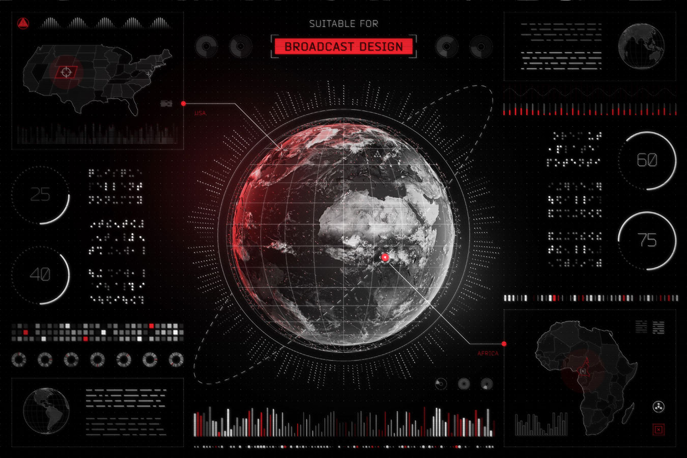 超炫酷科幻航空航天数据信息HUD仪表盘UI设计模板套件 Futuristic UI Kit • 200+ Design Elements插图(11)