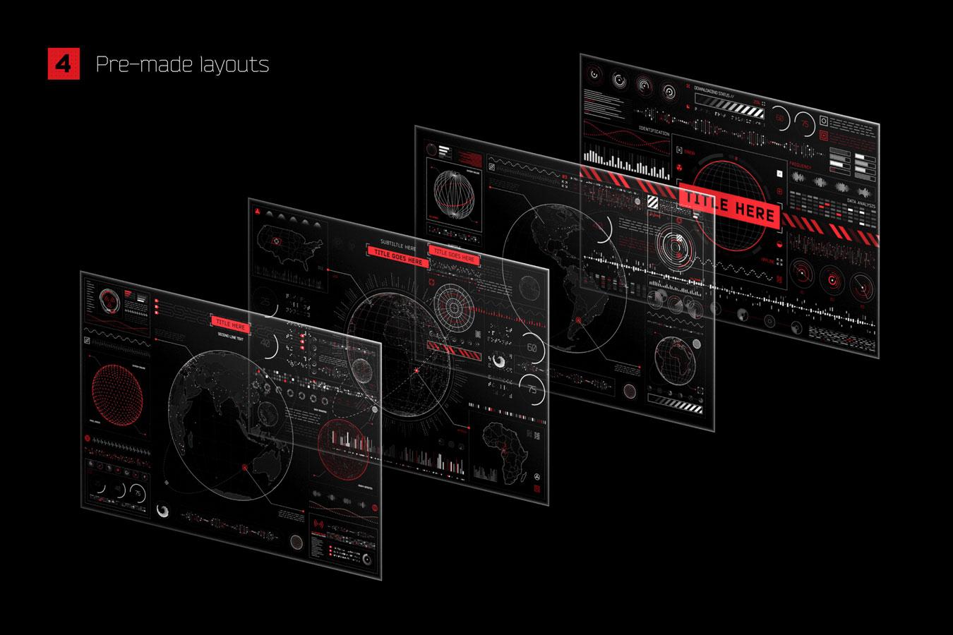 超炫酷科幻航空航天数据信息HUD仪表盘UI设计模板套件 Futuristic UI Kit • 200+ Design Elements插图(1)