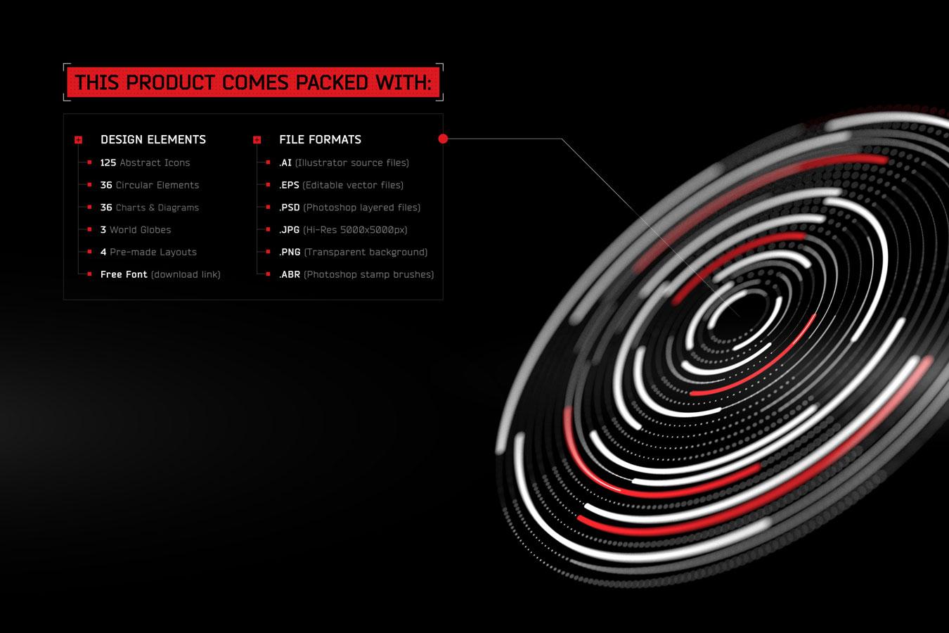 超炫酷科幻航空航天数据信息HUD仪表盘UI设计模板套件 Futuristic UI Kit • 200+ Design Elements插图(8)