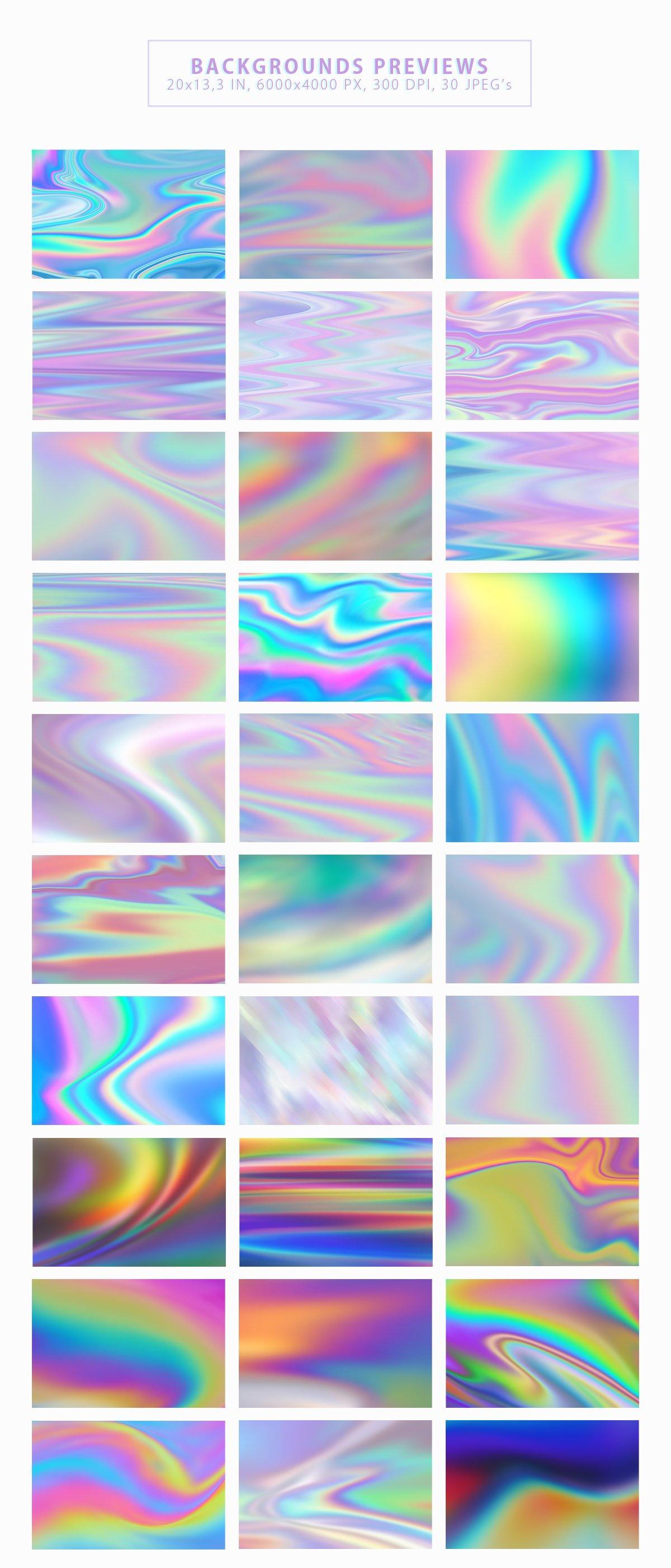 抽象彩虹色背景纹理套装 Iridescent Abstract Backgrounds插图(1)