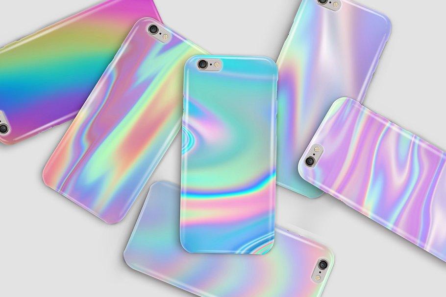 抽象彩虹色背景纹理套装 Iridescent Abstract Backgrounds插图(5)