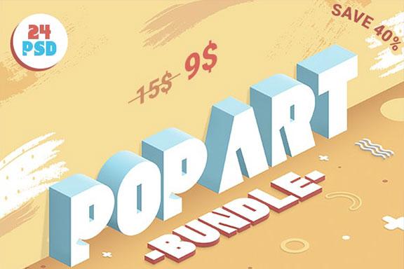 24款孟菲斯波谱艺术3D彩色立体字体效果PS图层样式 Pop Art Bundle