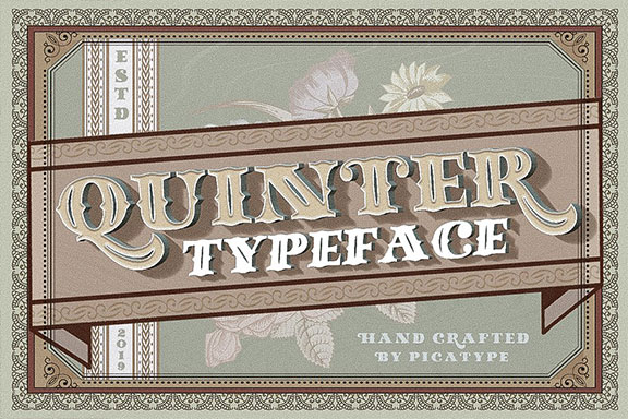 复古老式啤酒标签衬线英文字体 Quinter Typeface | 50% OFF