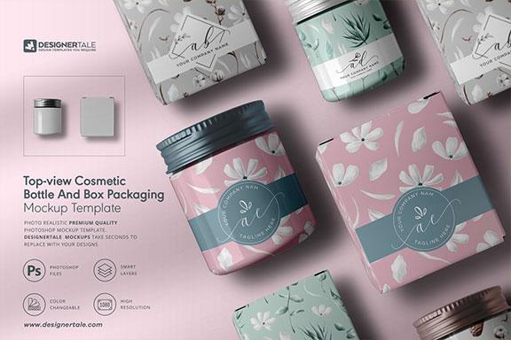 带有标签化妆品瓶&盒子包装设计顶视图效果图样机模板 Cosmetic Bottle And Box Mockup