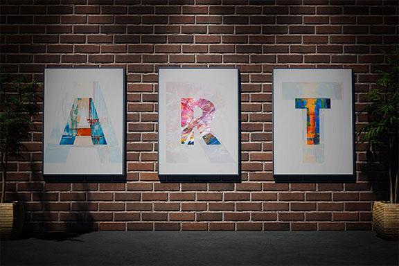 带有混凝土砖墙海报艺术品设计展示样机模板 Posters Mockup – Brick Wall