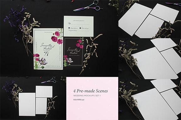 婚礼邀请函设计预览效果图PSD样机模板套件 Wedding Invitation Mockup Set
