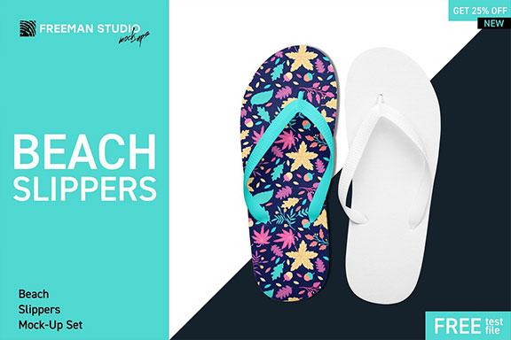 夏季海滩拖鞋设计预览图样机模板 Beach Slippers Mockup Set