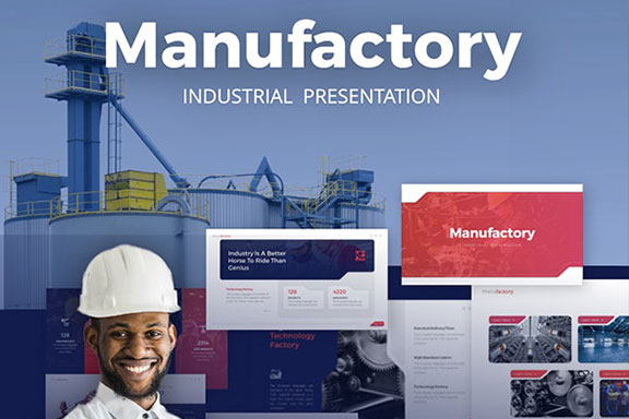 工业制造业品牌介绍年度计划书PPT模板 Manufactory Industry PowerPoint Template