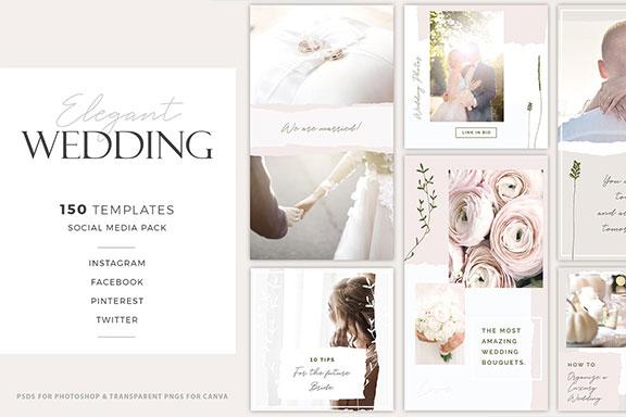 优雅婚礼摄影社交媒体推广设计素材包 Elegant Wedding Social Media Pack