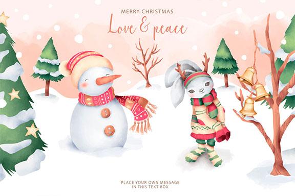 优雅可爱圣诞节主题元素设计矢量素材包 Elegant and Lovely Christmas Backgrounds Set