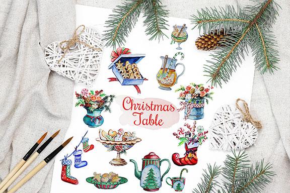 圣诞节主题手绘水彩食品装饰画套装  Christmas Watercolor Food Decoration