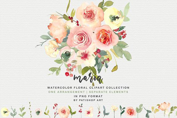 香草色腮红手绘水彩花卉剪贴画套装 Vanilla & Blush Watercolor Florals