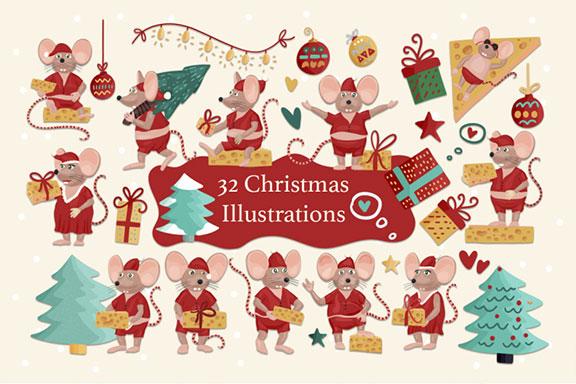 圣诞节主题新年小老鼠手绘剪贴画素材包 Merry Kiss-Mas. Christmas set