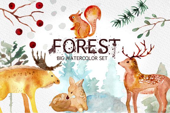 可爱手绘冬季卡通水彩动植物剪贴画素材包 Winter Forest Watercolor Graphic Set