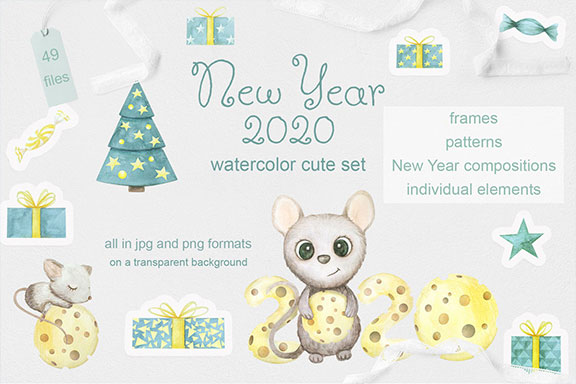 可爱手绘2020新年老鼠水彩插画合集 Mouse New Year 2020 Watercolor Set
