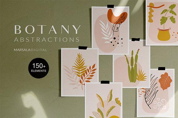 150多种抽象植物矢量图形设计素材合集 Botanical Abstract Collection