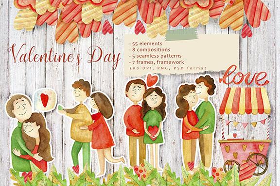 高质量红褐色情人节手绘水彩插画设计素材包 Valentines Day Watercolor Set