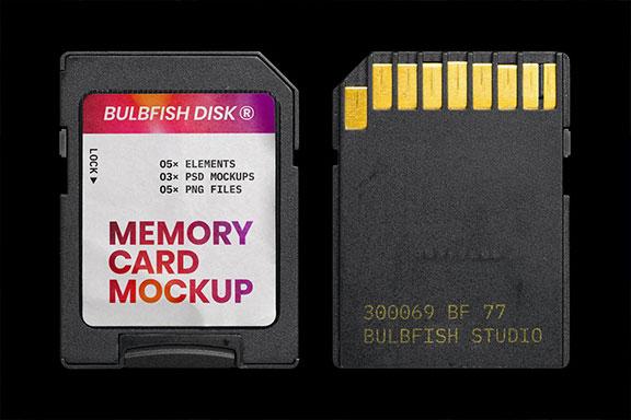 存储卡包装标签设计效果图样机模板 Memory Card Mockup