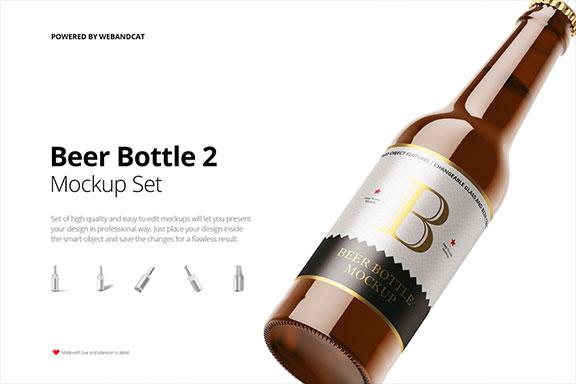 带标签棕色透明啤酒玻璃瓶设计样机模板2 Beer Bottle Mockup 2